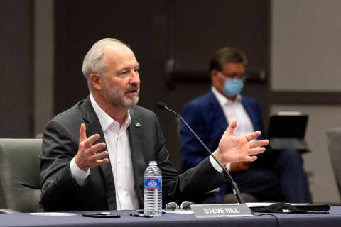 In this Sept. 1, 2020, file photo, Steve Hill, CEO of the Las Vegas Convention and Visitors Aut ...