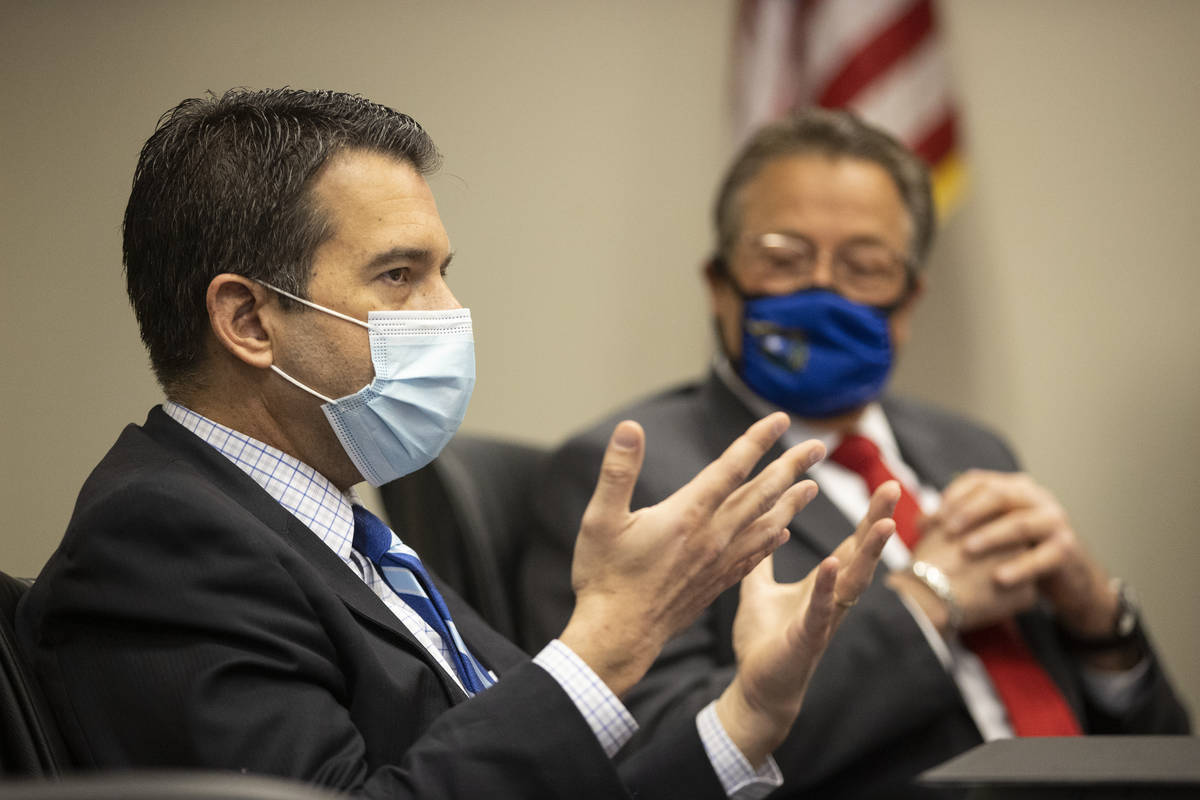 Brin Gibson, left, chair of the Nevada Gaming Control Board, and John Moran, chairman of the Ne ...