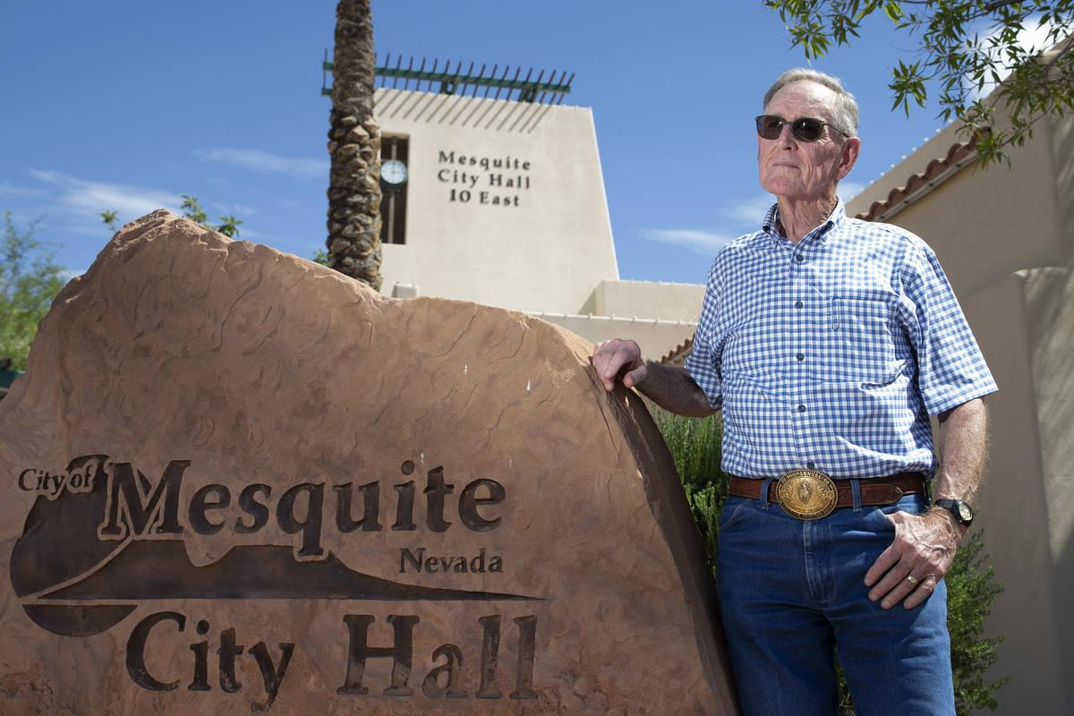 Councilman George Gault in front of Mesquite City Hall on Wednesday, June 2, 2021. (Ellen Schmi ...