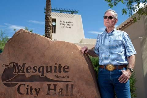 Councilman George Gault in front of Mesquite City Hall on June 2, 2021. (Ellen Schmidt/Las Vega ...
