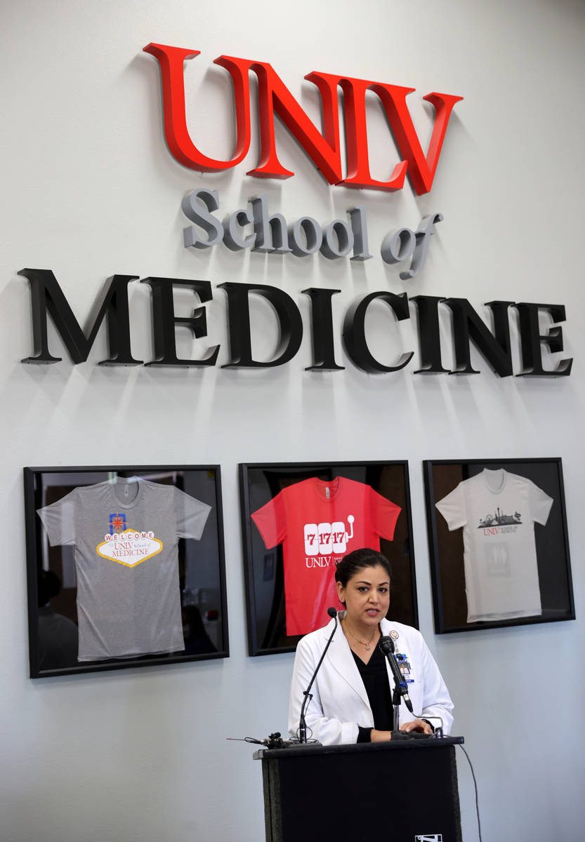 University Medical Center Director of Infectious Disease Dr. Shadaba Asad speaks during a news ...