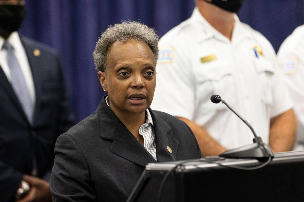 Mayor Lori Lightfoot speaks during a press conference at the Chicago Police Headquarters in Bro ...
