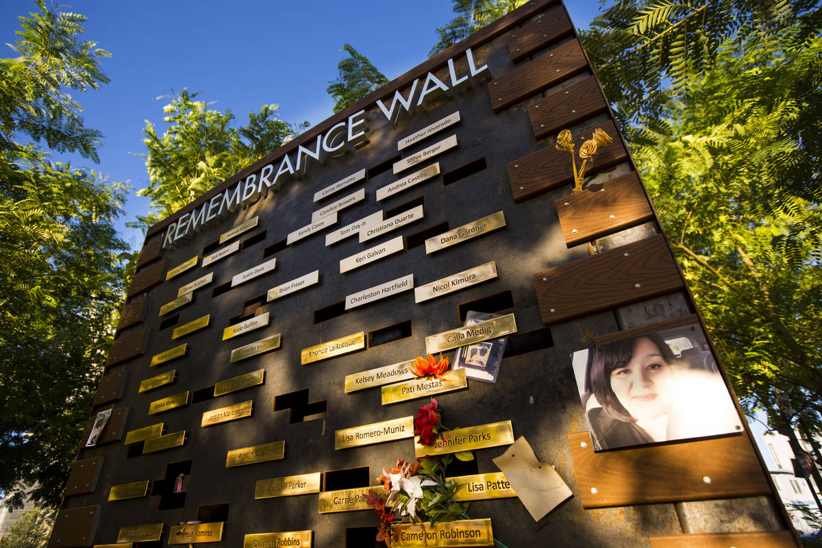 The Remembrance Wall at the Las Vegas Healing Garden in Las Vegas on Wednesday, Sept. 18, 2019. ...