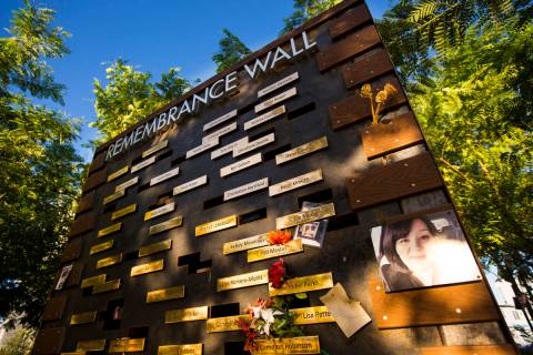 The Remembrance Wall at the Las Vegas Healing Garden in Las Vegas on Sept. 18, 2019. (Chase Ste ...