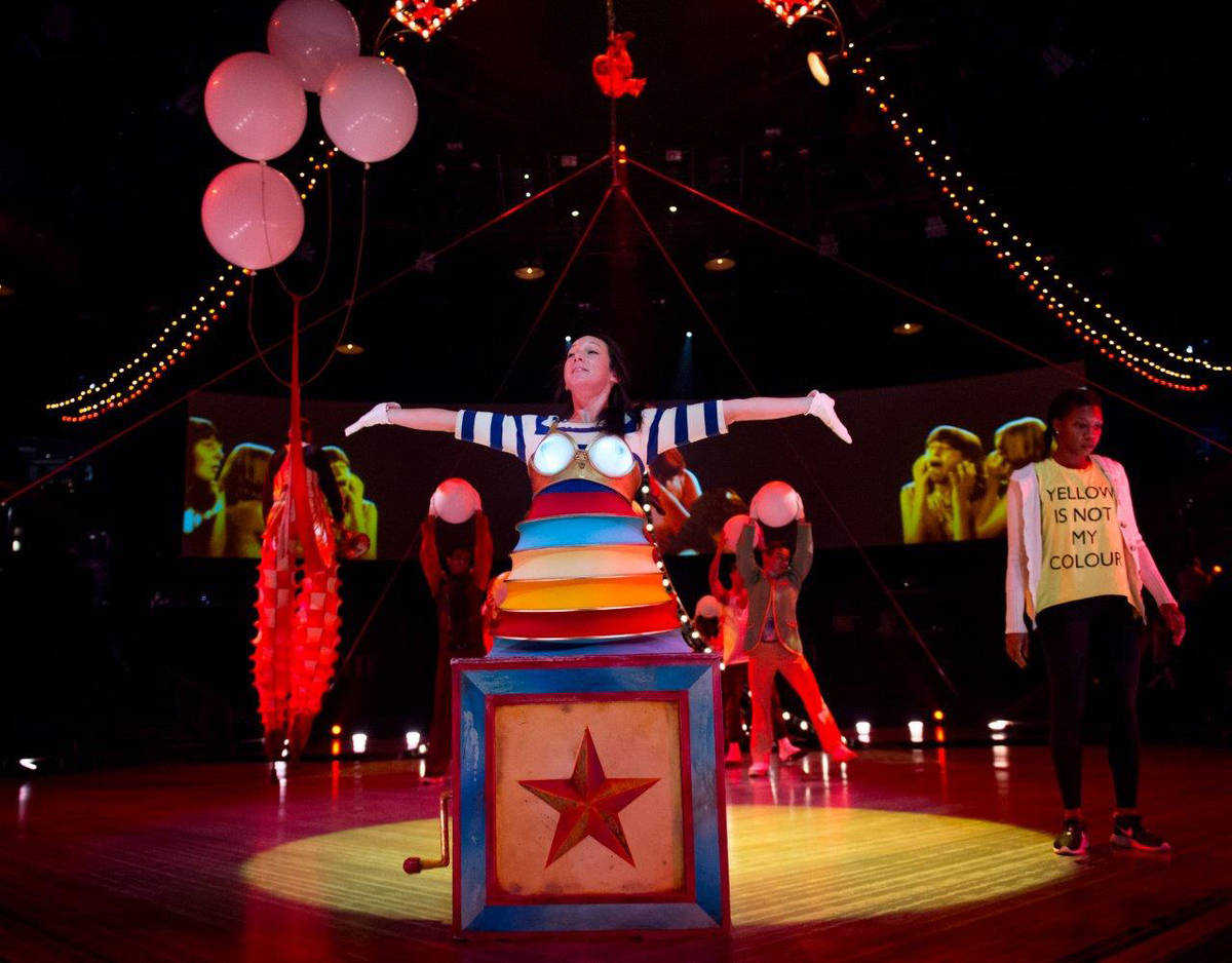 """Rehearsal for """"The Beatles Love"""" by Cirque du Soleil at The Mirage. (Tom Donoghue)"""