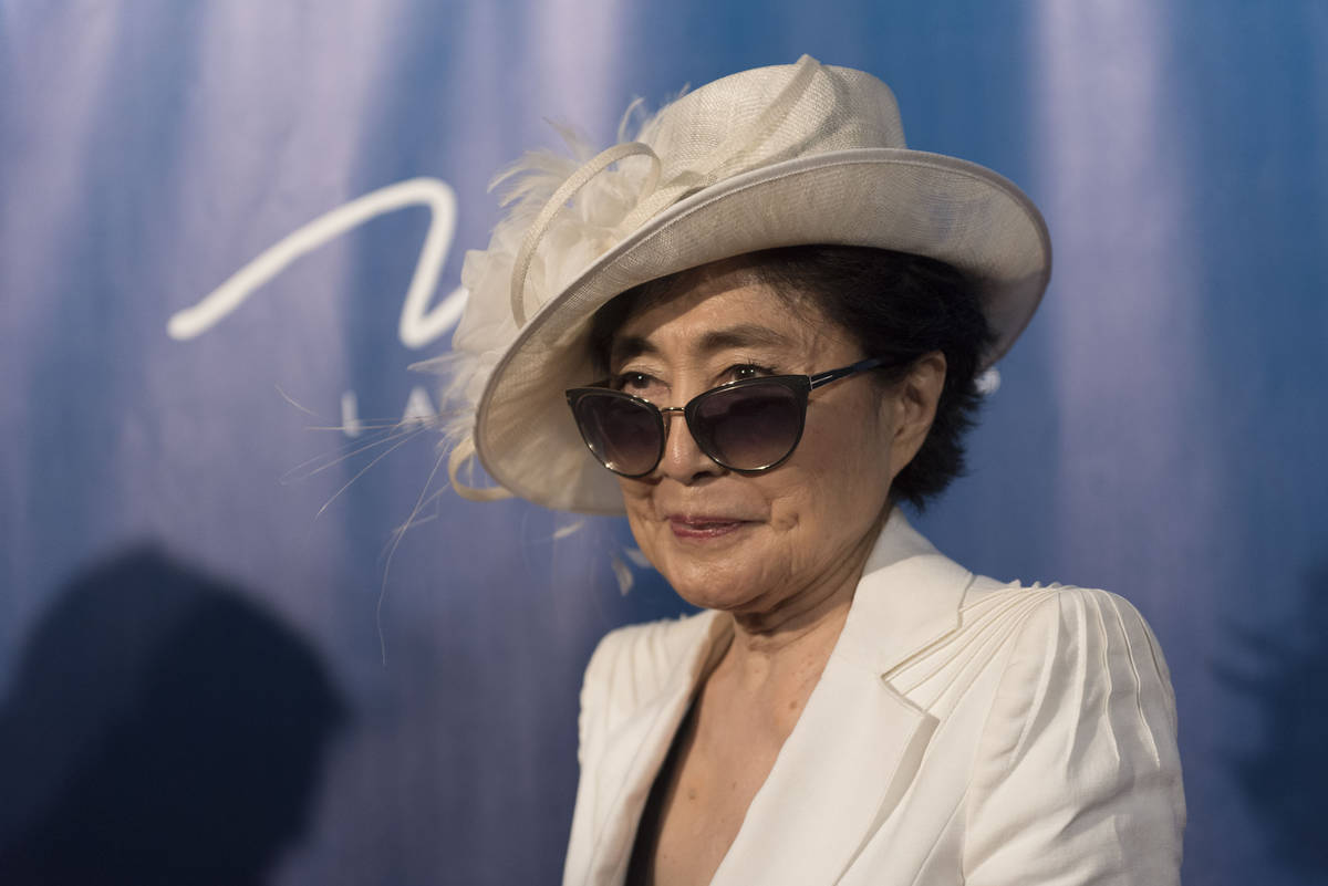 Yoko Ono Lennon poses during a red carpet event to celebrate the 10th anniversary of Cirque du ...