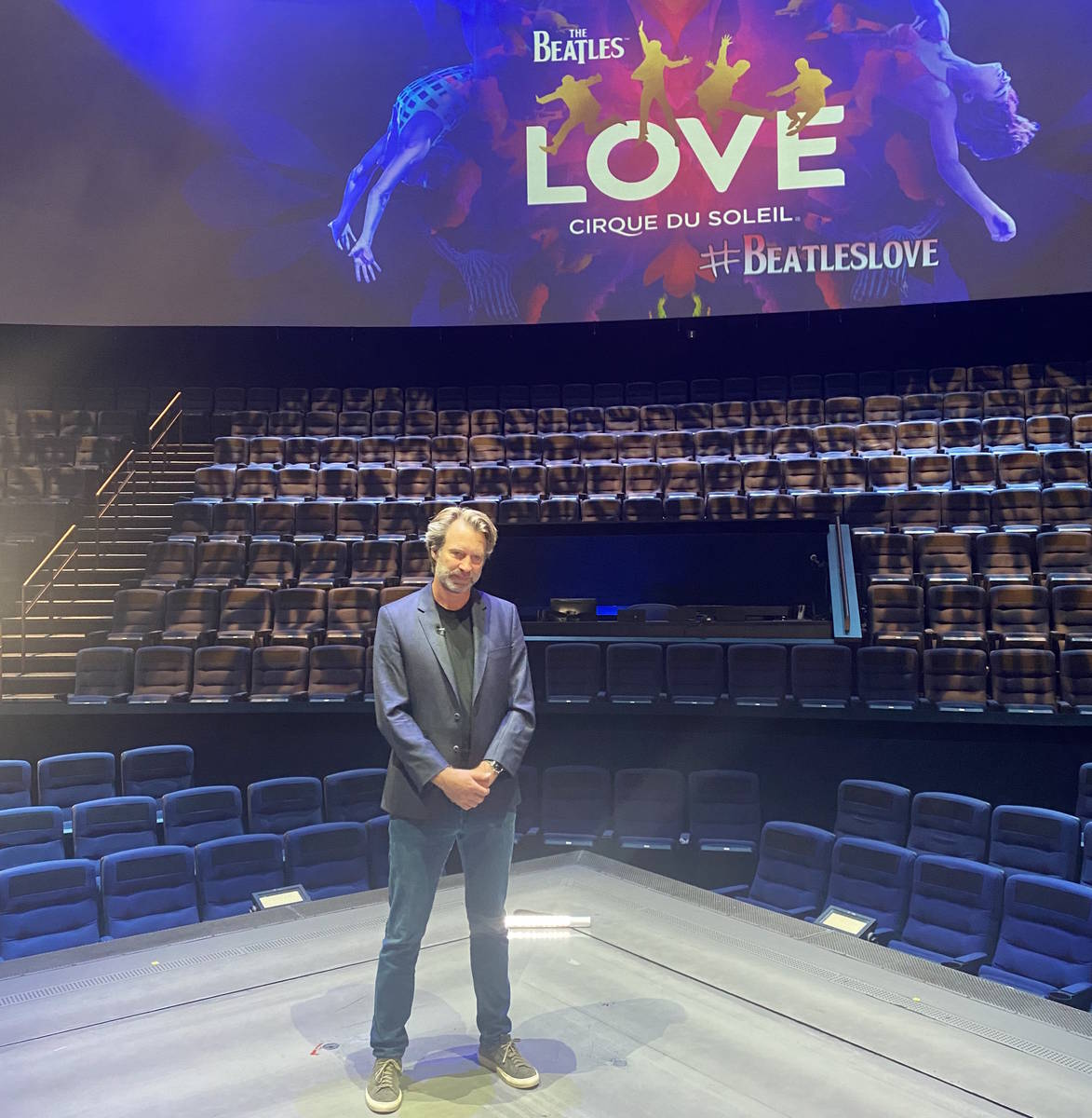 Giles Martin is shown during a video shoot at Love Theater at the Mirage on Sunday, Aug. 1, 202 ...