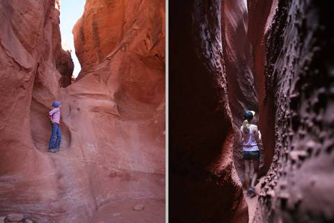 The mouth of Peek-A-Boo Canyon, left. Spooky Canyon is seen on the right. Both of the slot cany ...