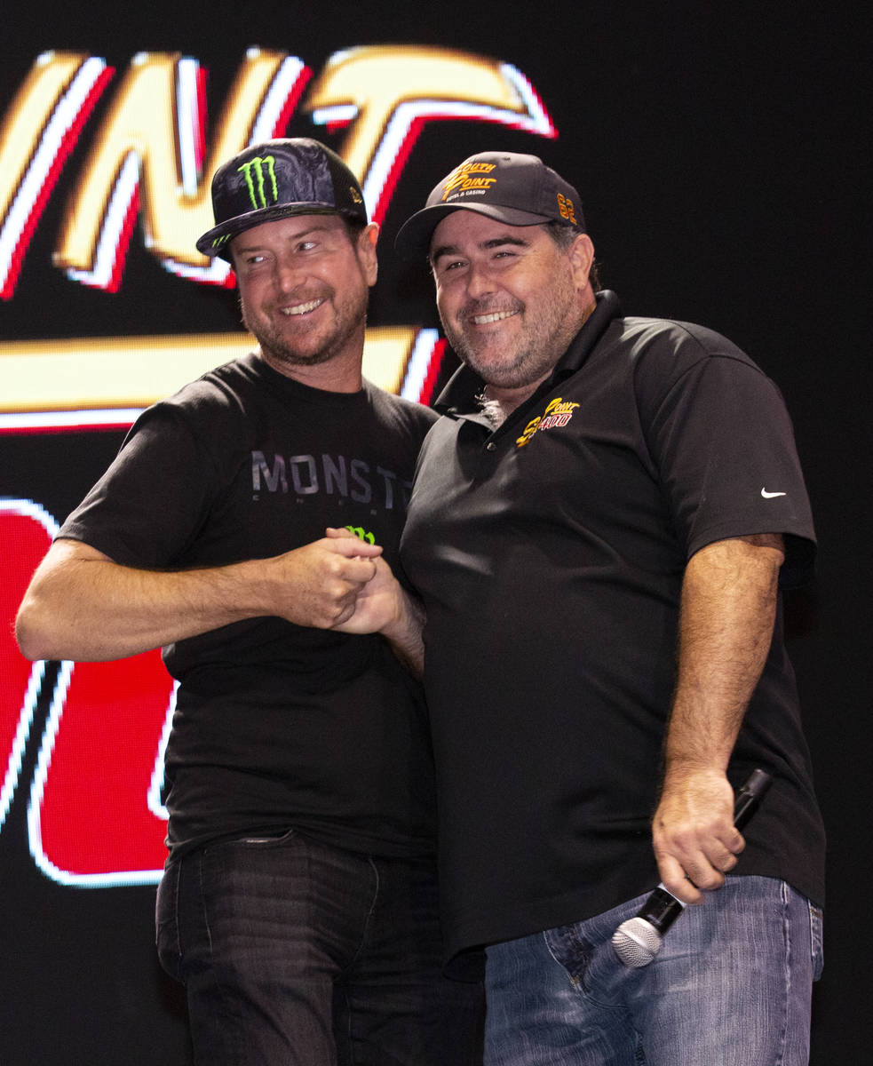 NASCAR driver Kurt Busch, left, and former NASCAR driver Brendan Gaughan, both from Las Vegas, ...