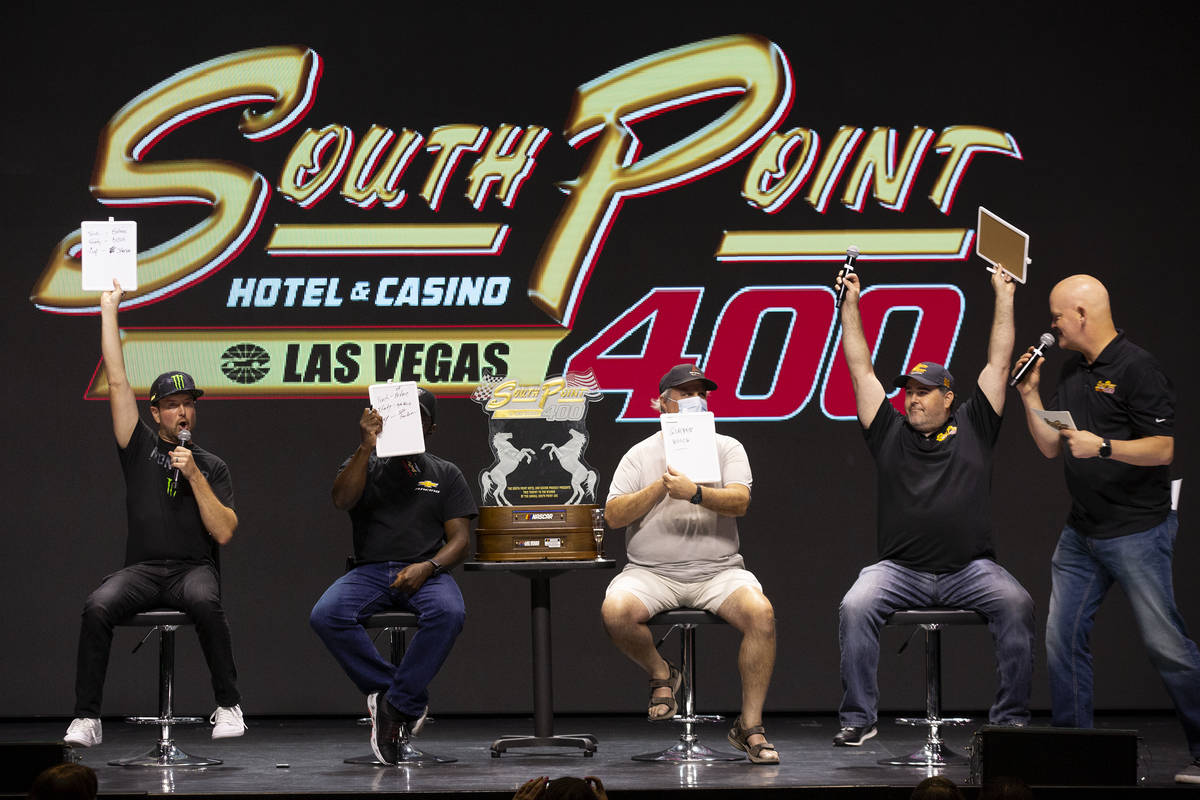 NASCAR driver Kurt Busch, left, and former NASCAR driver Brendan Gaughan, right, both from Las ...