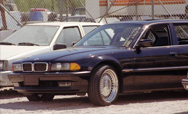 The black BMW that Tupac Shakur was riding in when he was shot sits in a Las Vegas police impou ...