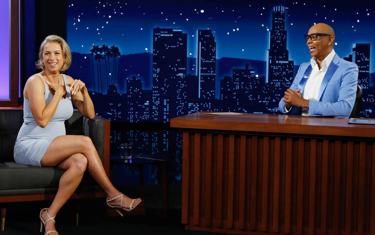 """Iliza Shlesinger appears with guest host RuPaul on """"Jimmy Kimmel Live"""" on Wednesday, Aug. 25, 2 ..."""