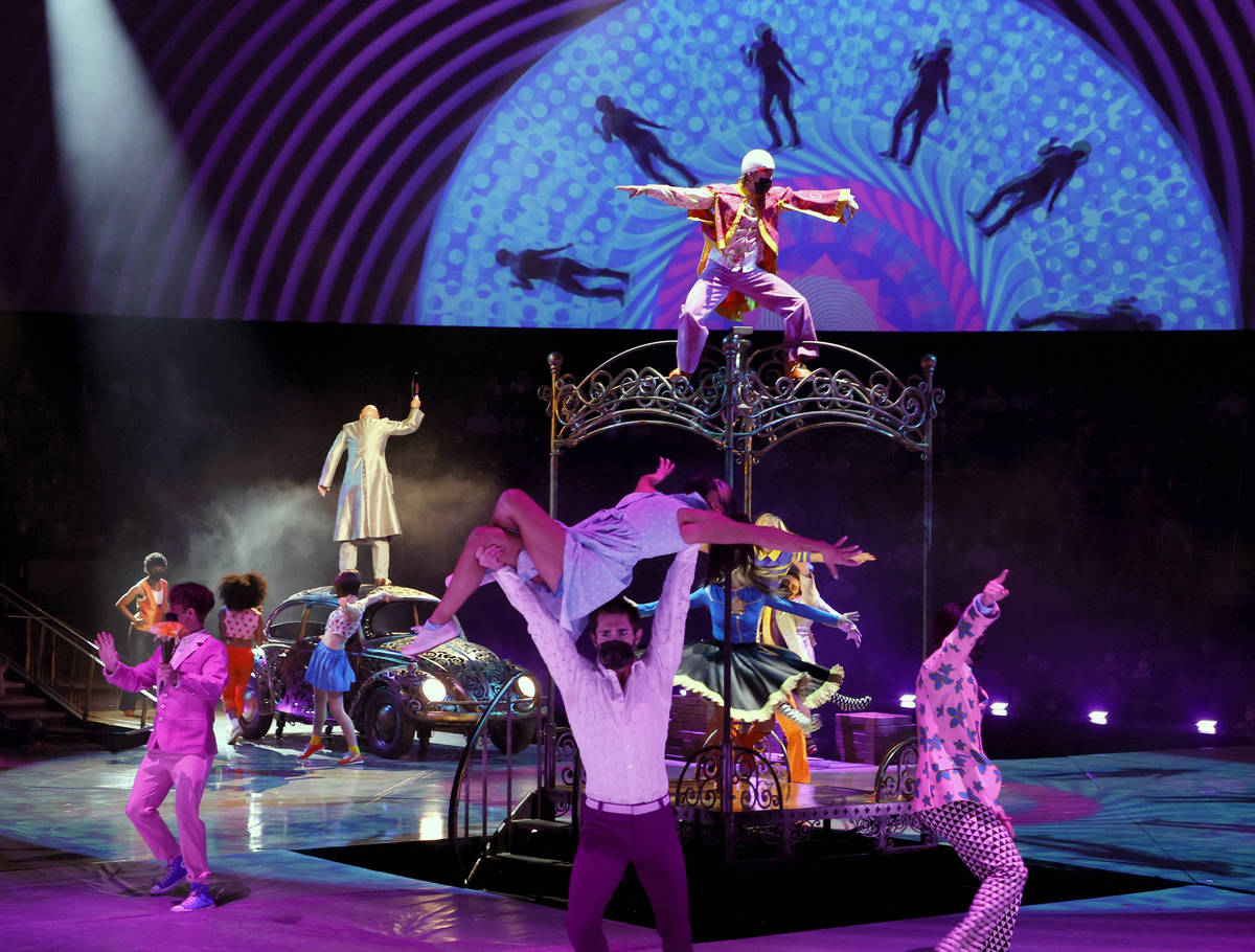 """Cast members perform during the grand reopening of """"The Beatles LOVE By Cirque du Soleil"""" at Th ..."""