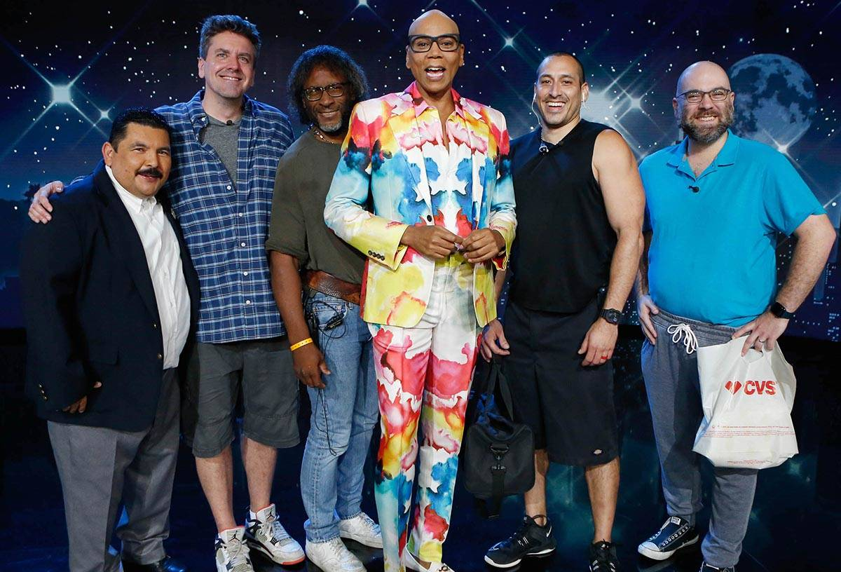 """Drag icon RuPaul is shown with members of the cast and crew of """"Jimmy Kimmel Live"""" on Thursday, ..."""