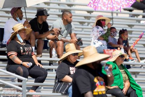 Cheyenne fans attempt to stay cool in at least 100-degree weather during a football game agains ...