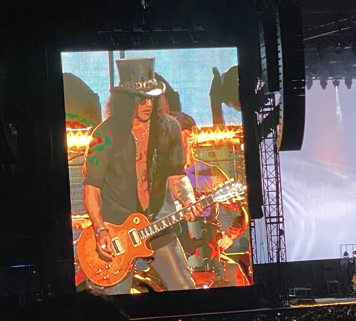 Guns N' Roses plays Allegiant Stadium on Friday, Aug. 27, 2021. (John Katsilometes/Las Vegas Re ...