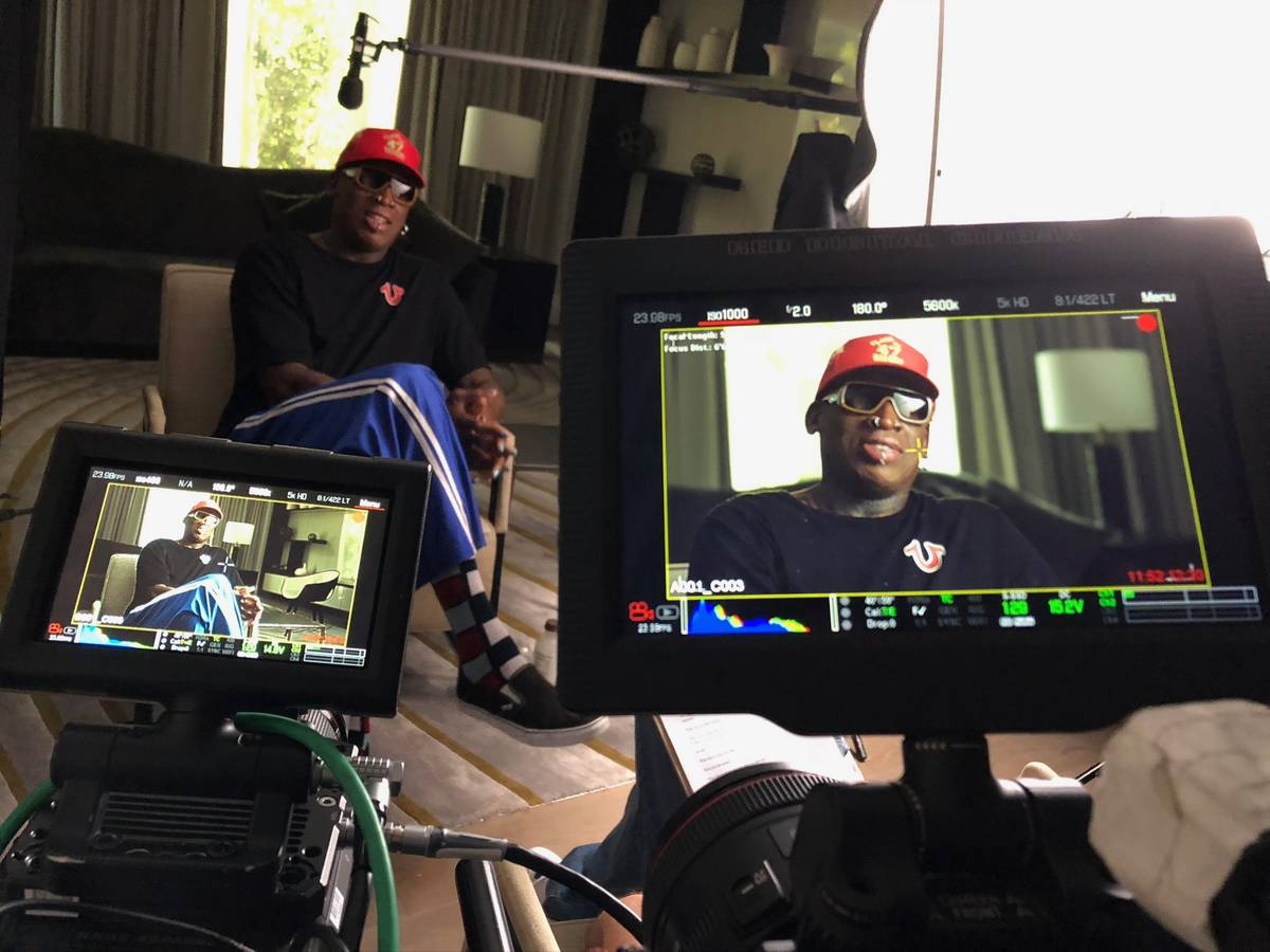 """Former Chicago Bulls forward Dennis Rodman participates in an interview for """"The Last Dance."""" C ..."""