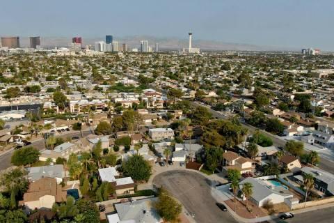An aerial view of housing near Eastern Avenue and Desert Inn road in Las Vegas, Nevada Monday A ...
