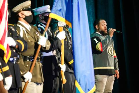 Carnell Johnson sings the national anthem to the crowd at the National Homeland Security Confer ...