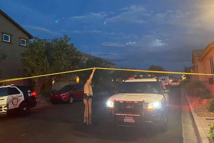 Police investigate a homicide June 30, 2021, on the 4500 block of Sonoma Sunset Court in Las Ve ...