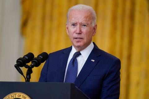 President Joe Biden speaks about the bombings at the Kabul airport that killed at 13 U.S. servi ...