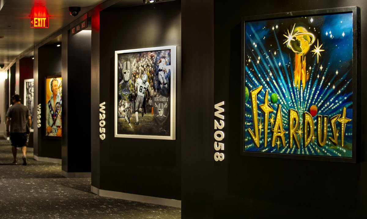 A suites level at Allegiant Stadium features many commissioned art works on Friday, Sept. 18, 2 ...