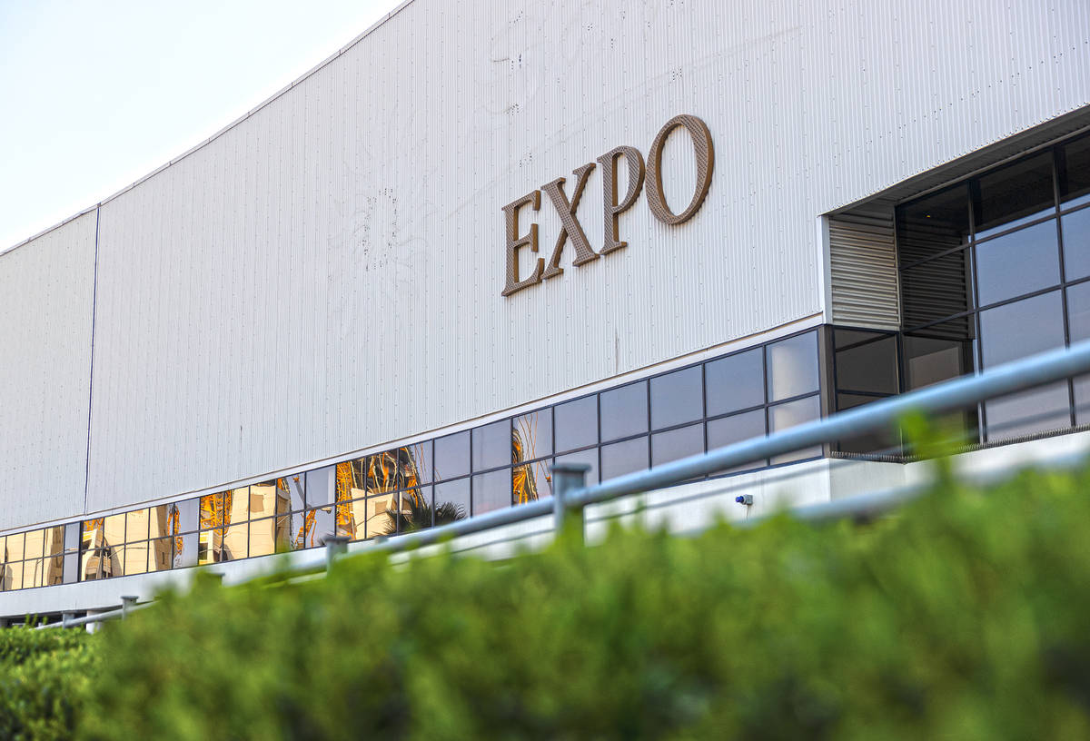Work continues on replacing the signage for Sands Expo and Convention Center to The Venetian Ex ...