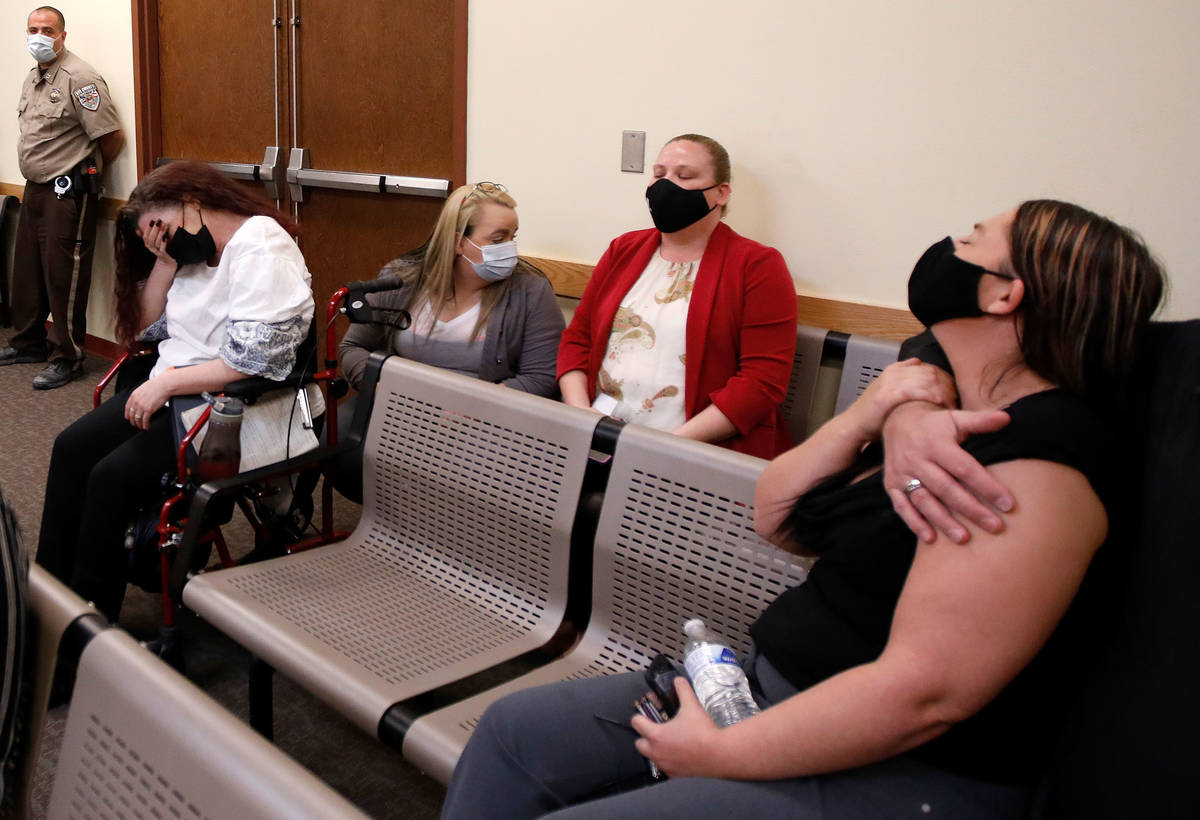 Roy Jaggers' mother, Kassy Robinson, far left, and sister Heather Jaggers, far right, react dur ...