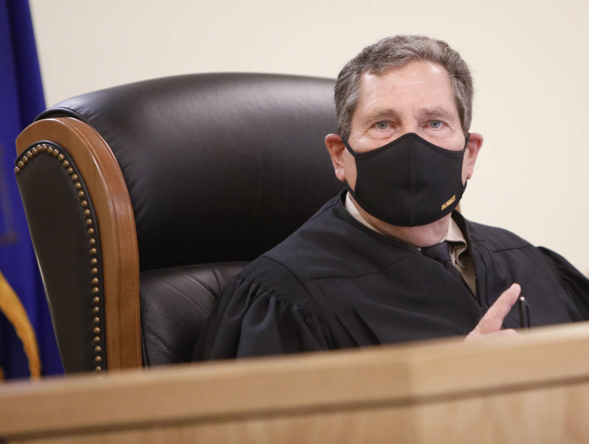 Pahrump Justice of the Peace Kent Jasperson speaks during a hearing for Heather Pate, Kevin Den ...