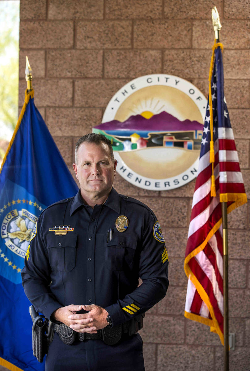 Henderson police Sgt. Jeb Bozarth outside the Henderson Police Department's west substation on ...