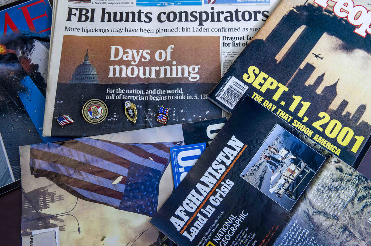 Magazines and newspaper editions featuring 9/11 coverage, collected by the Las Vegas FBI divisi ...