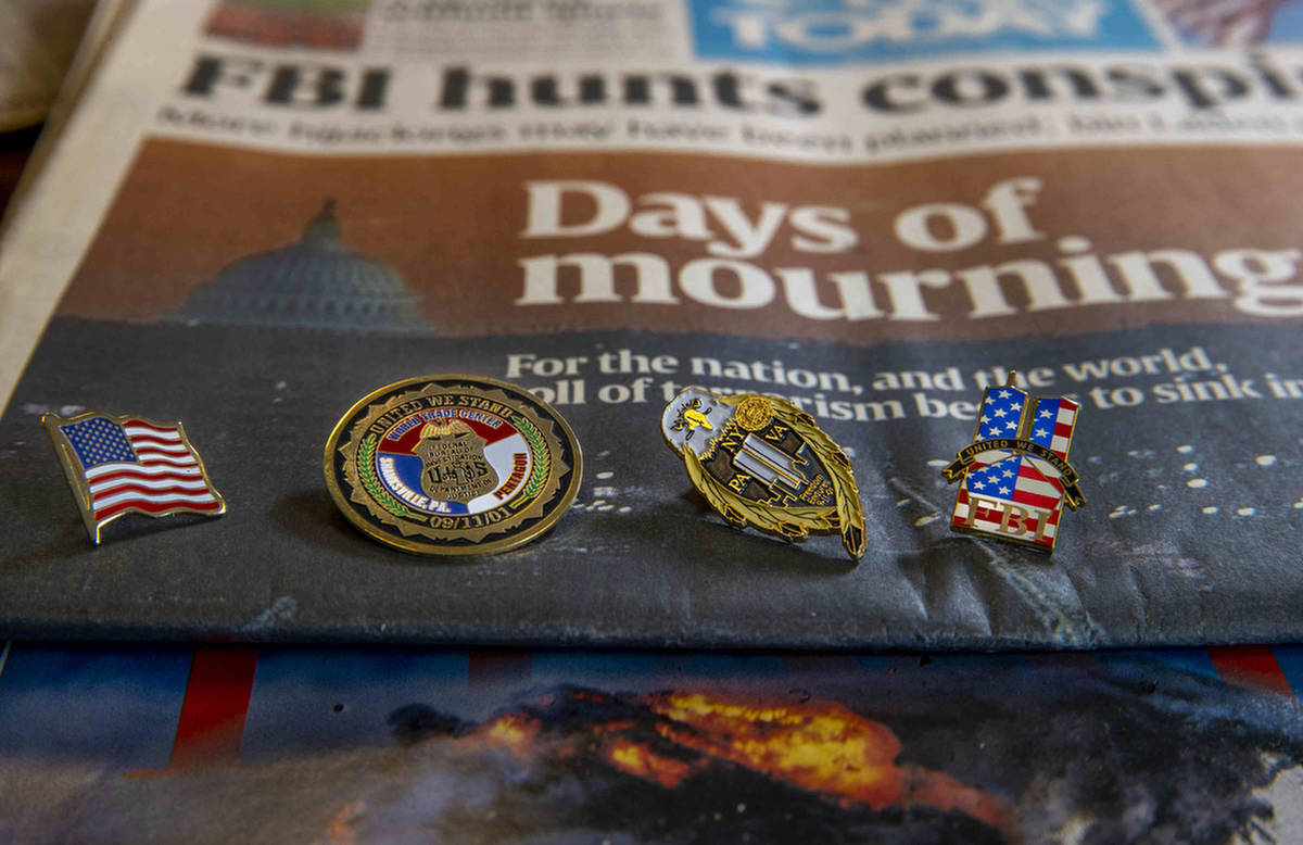 9/11 pins collected by the Las Vegas FBI division over the years as seen on Wednesday, Aug. 18, ...