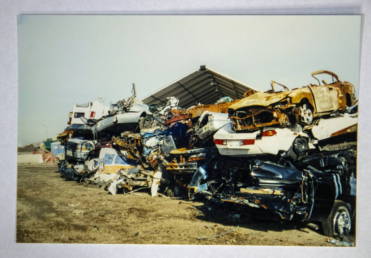 A stack of damaged cars taken by FBI Special Agent Tracy Dockery while working to sort 9/11 deb ...