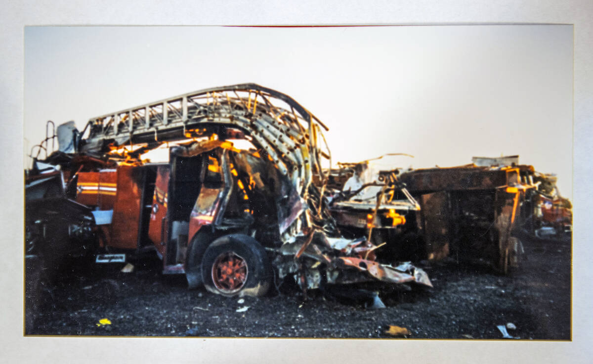 A mangled firetruck in an image taken by FBI Special Agent Tracy Dockery while working to sort ...