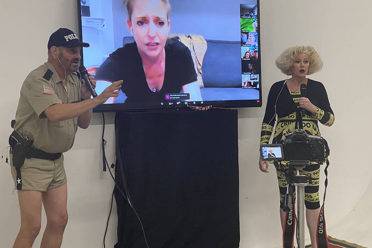 """Eric Post and Jayne Ann Savoie Post are shown in a virtual performance of """"Marriage Can Be Murd ..."""