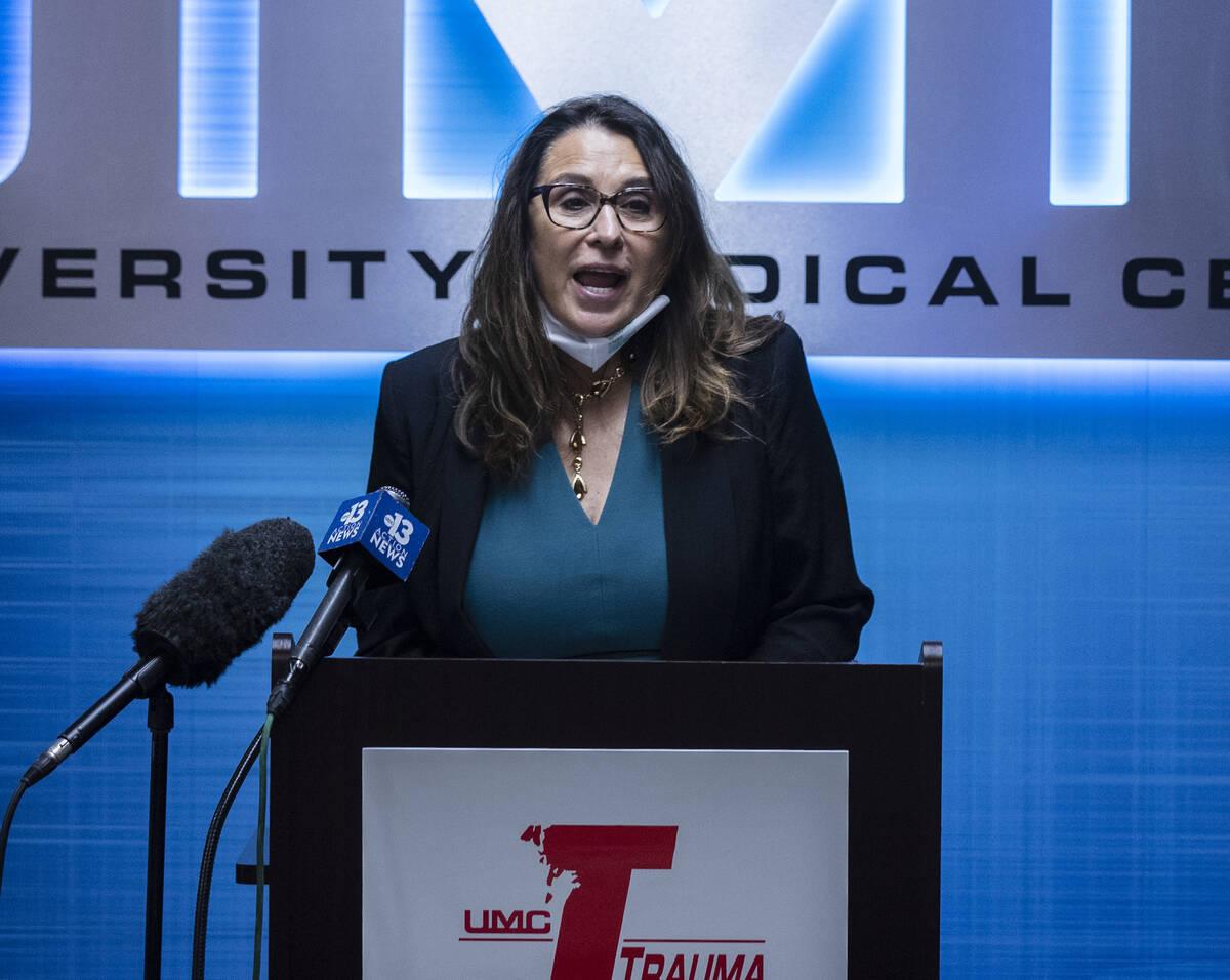 Las Vegas City Councilwoman Victoria Seaman speaks during a special event at UMC trauma center ...