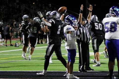 Palo Verde High School's Paisley Nickelson (2) celebrates his touchdown during the second half ...