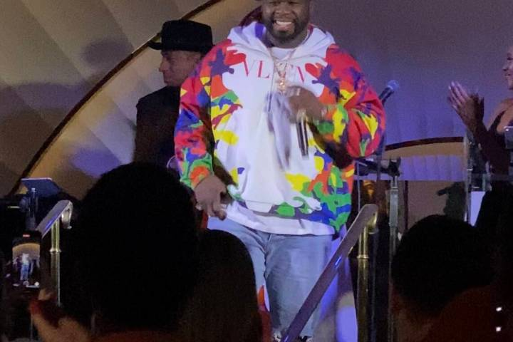 50 Cent makes an unbilled appearance at Delilah at Wynn Las Vegas on Thursday, Sept. 2, 2021. ( ...