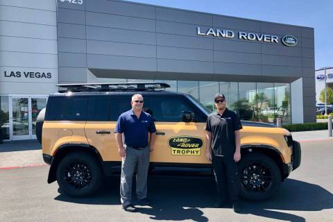 Jaguar Land Rover Las Vegas sales manager Kevin Kesick, left, and shop foreman Rick Marshall ar ...