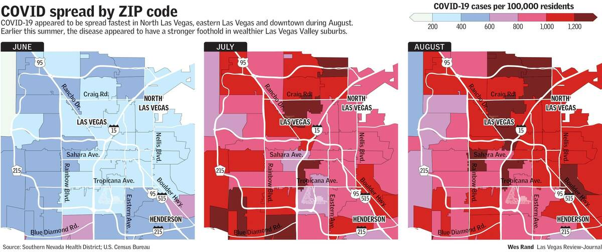 Graphic shows new cases of COVID-19 in the Las Vegas Valley in June, July and August (Wes Rand, ...