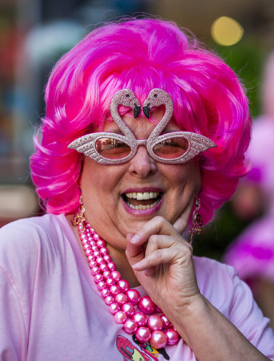 Susan Hyre of Ambridge, Pennsylvania, is all flamingoed up as the organizer for the 1st Annual ...