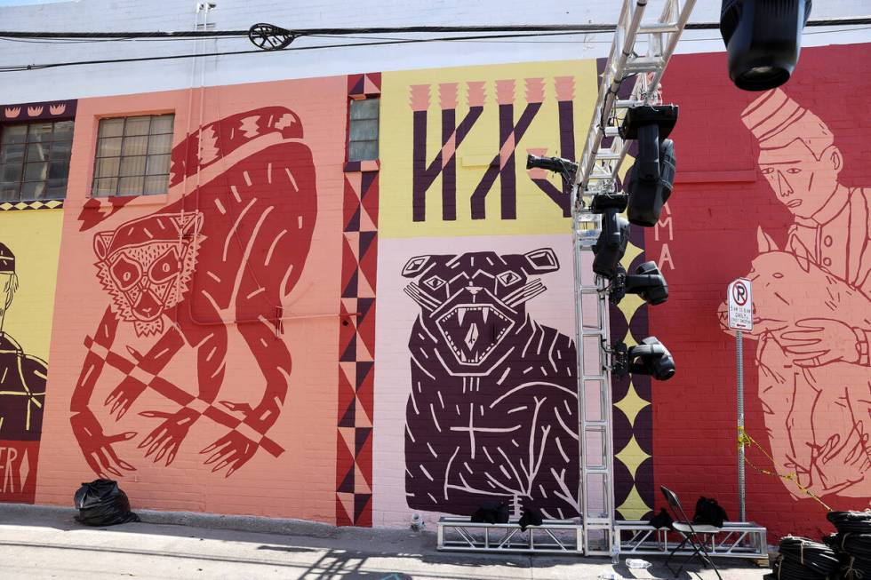 """Part of an in-progress mural titled """"Found Again"""" by Keya Tama for the Life is Beautiful music, ..."""