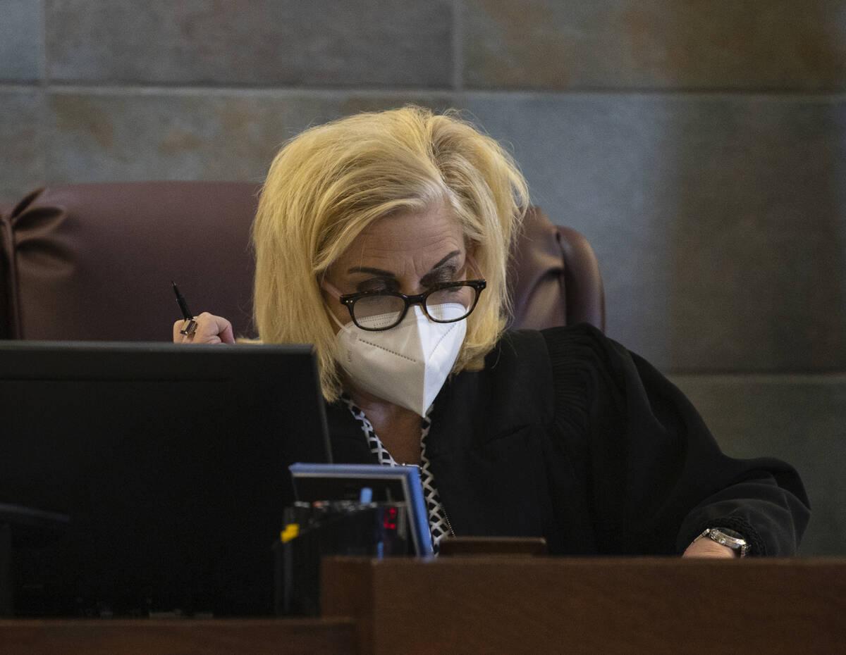 District Judge Michelle Leavitt announces Jarrid Johnson's sentence at the Regional Justice Cen ...