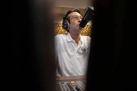 "George Lyons broadcasts his radio show ""The Lyons' Den"" live on KUNV at Greenspun Hal ..."