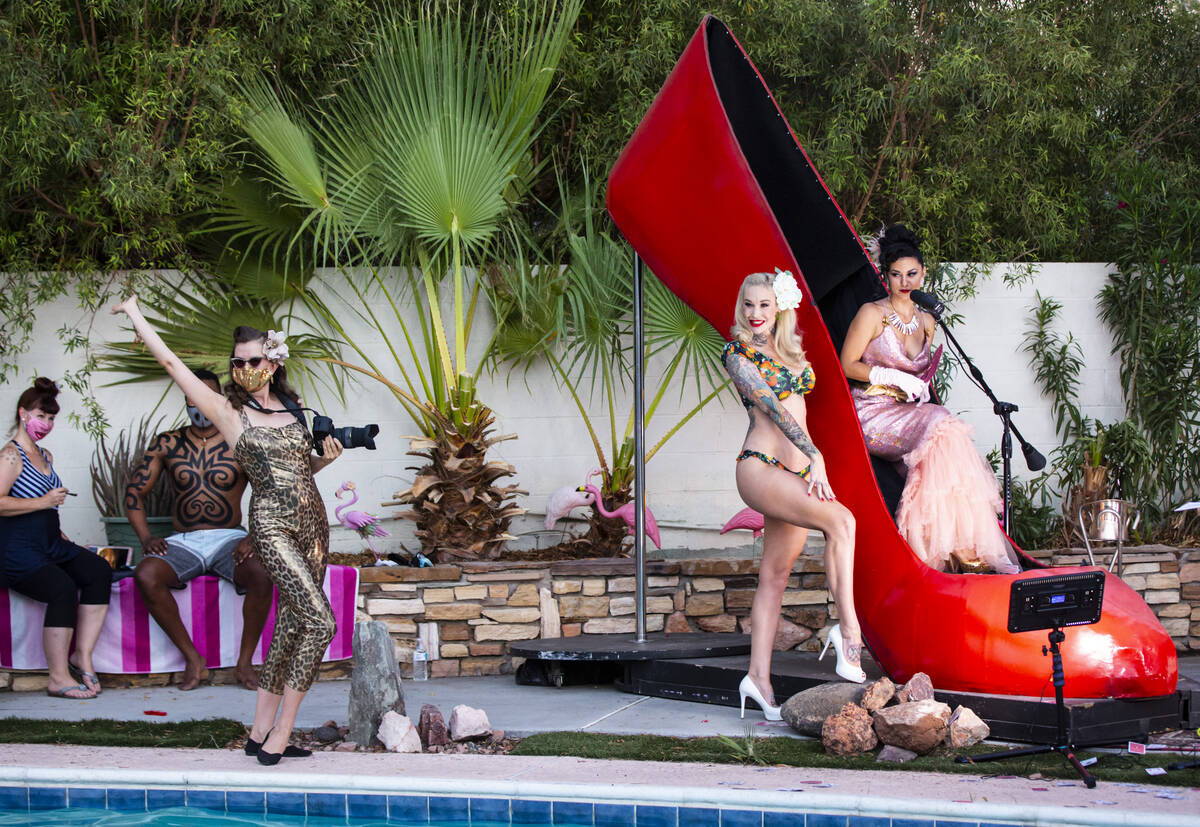 Pinup star Sabina Kelley and photographer and burlesque artist Bettina May during the PodKats! ...