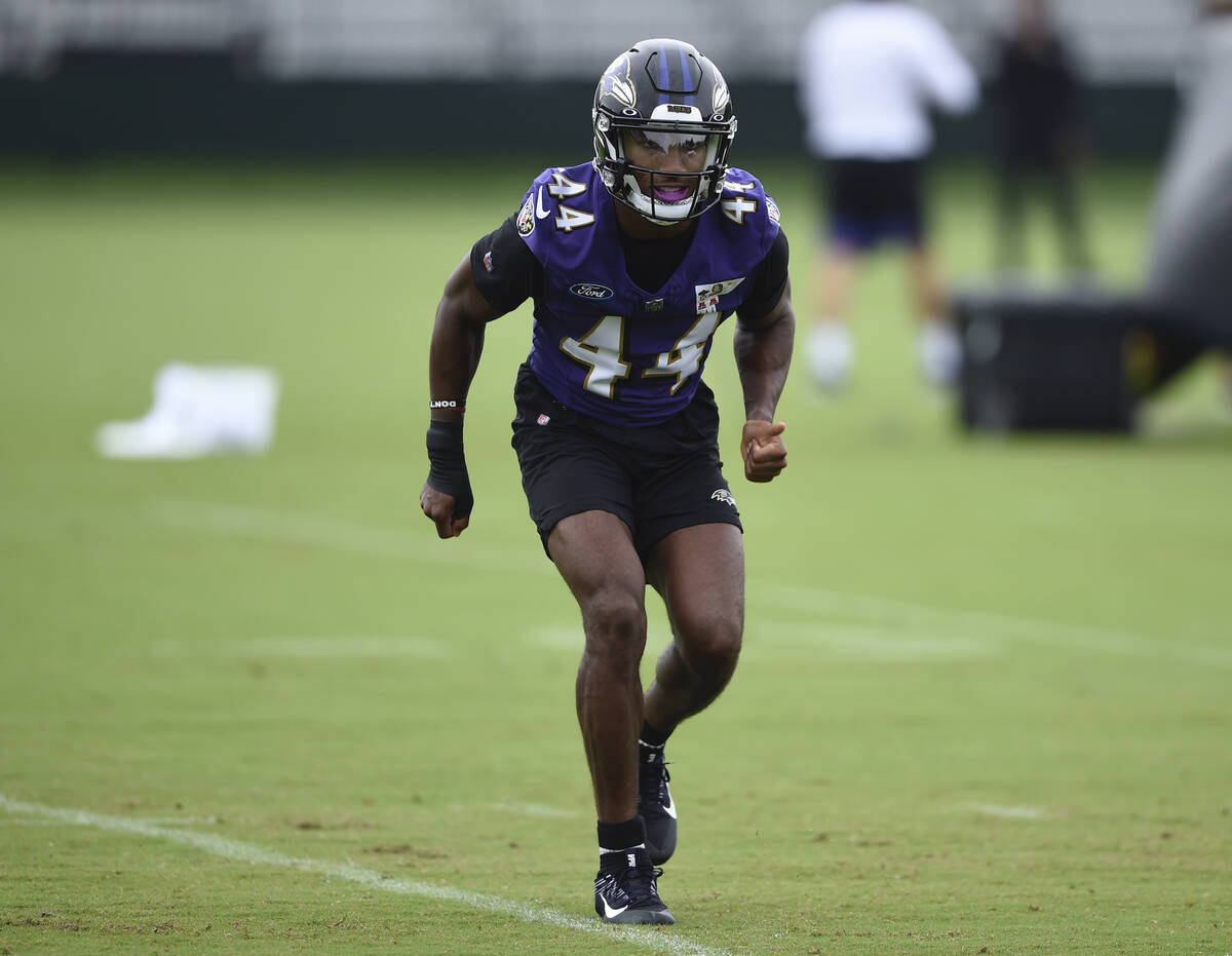 Baltimore Ravens cornerback Marlon Humphrey during an NFL football practice, Tuesday, Aug. 17, ...