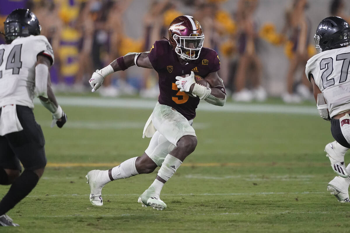 Arizona State running back Rachaad White (3) against UNLV during the second half of an NCAA col ...