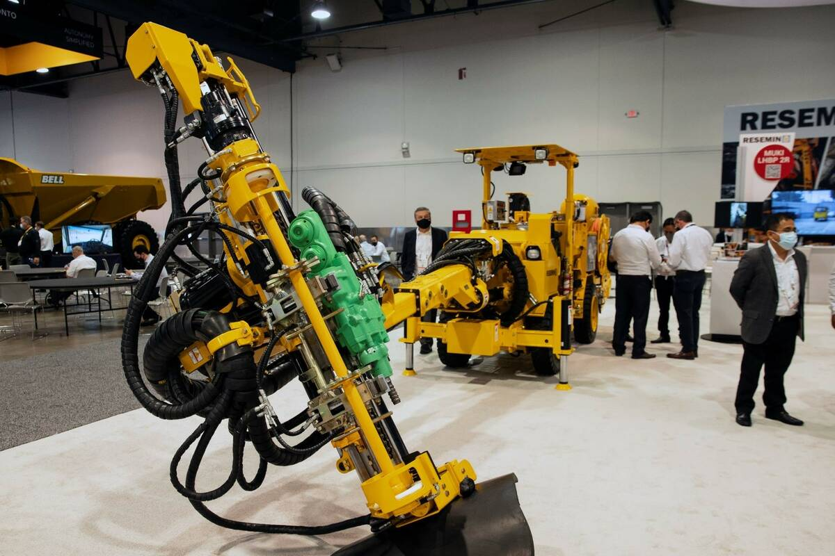 Bolter 99, a drilling machine for underground mining, is displayed during the opening day of th ...