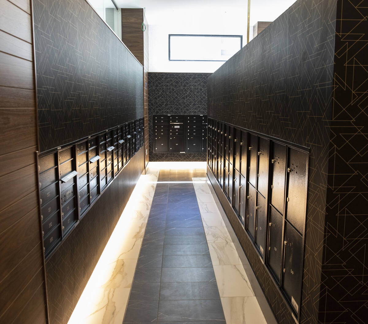 The mailroom at Auric Symphony Park, the first luxury multifamily residential community at Symp ...
