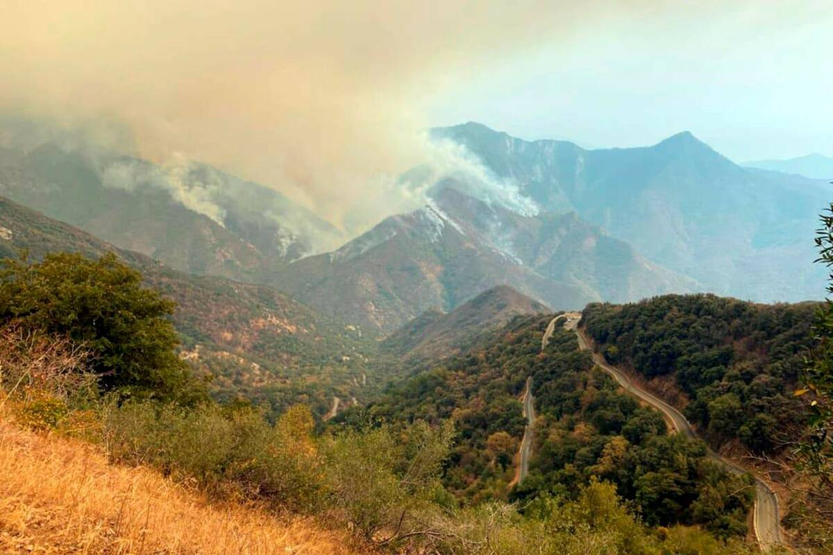 Smoke plumes rise from the Paradise Fire in Sequoia National Park, Calif., in September 2021. ( ...